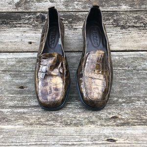 The Flexx Women's Faux Croc Slip On Loafers Shoes